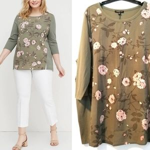 22/24 Lane Bryant Olive Floral Panel Top NWT